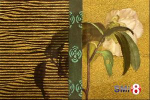 """Фото гравюры Хироаки Мияямы """"Сэкия"""" к главе 16 """"У заставы"""" """"Повести о Гэндзи"""" на выставке в Новосибирске"""