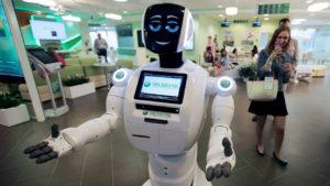 Фото. Роботы-андроиды начали работать  в учреждениях относительно недавно