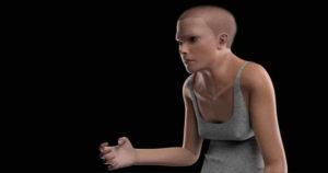Фото. Женщина будущего выглядит как сутулый заключённый с лысой головой и пальцами-крючками