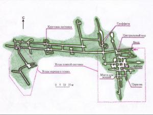 Фото. Примерный план меловой пещеры в Калаче.